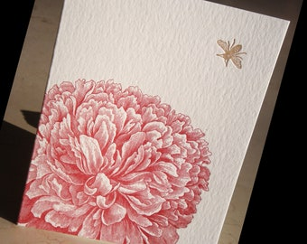 Dahlia and bee letterpress folded note card