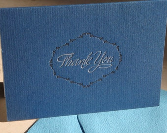 Blue and silver letterpress thank you notecards, white inside, set of 4