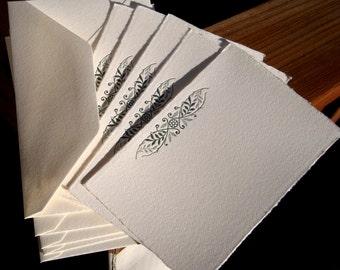 Letterpress notecards with vintage vine motif, five deckle edged cards and matching envelopes