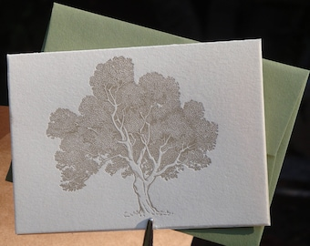 Leafy tree letterpress folded notecards, set of 4