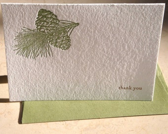 Pinecone letterpress thank you folded notecards, set of 4