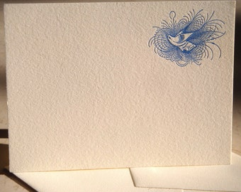 Letterpress notecards with vintage bird calligraphic motif, five cards and matching envelopes