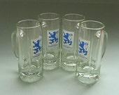 Beer Mugs - 1970s Vintage Lowenbrau Glaskrug - Set of 4