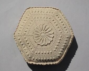 Crochet Pillow Decorative Throw Pillow Crochet Lace Pillow Boho Decor Ecru Cotton Lace Doily Pillow Handmade Vintage Pillow Hexagon