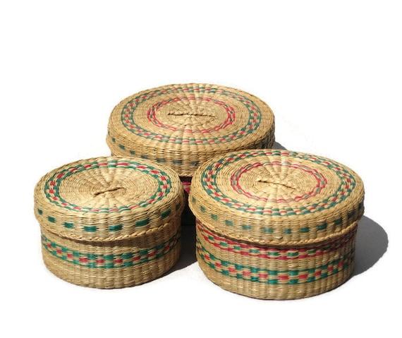Vintage Sweetgrass Basket Set Nesting Seagrass Baskets With | Etsy
