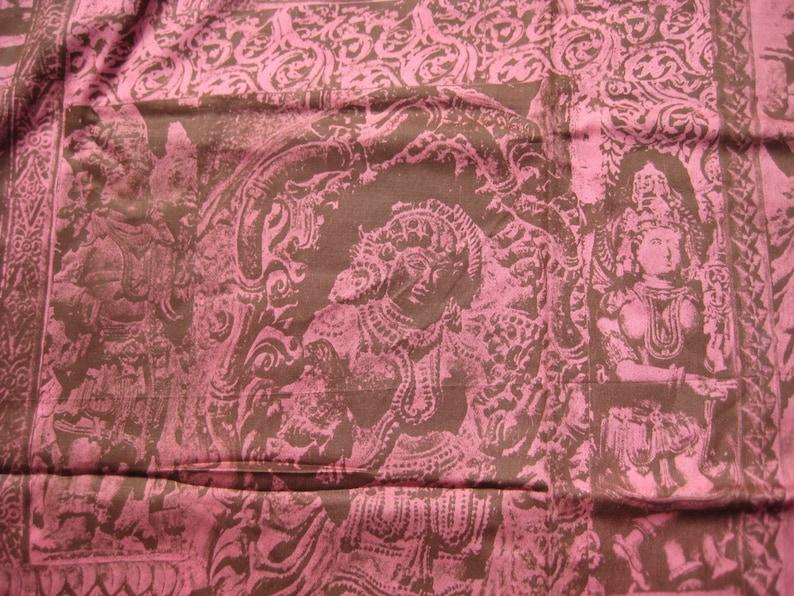 Wadtex Print Fabric Remnant Pink Shiva Buddha 1970s Vintage South Asia India Hindu Deities 1.9 Yards