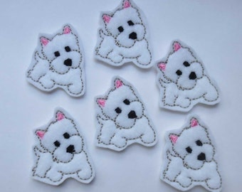 White Terrier Puppy Felt Embroidered Embellishment - 196