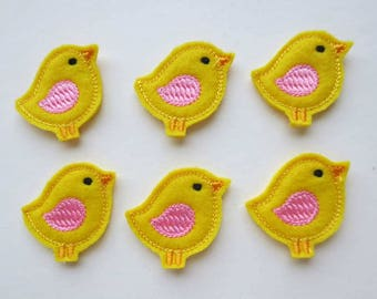 Little Yellow Birdie with Pink - Right -  Embroidered  Fetie  - 484