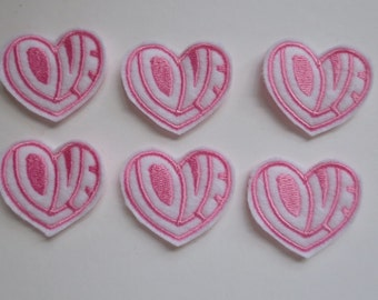 Love Heart Style 2 White with Lt Pink Embroidered Valentine Heart - 204