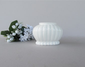 Vintage Milk Glass Flower Pot, Milk Glass Planter, Wedding Vase, Vintage Wedding Décor, Oval Planter