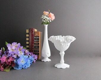 Vintage Milk Glass Dish and Vase Set, Milk Glass Bud Vase, Milk Glass Candy Dish, Footed Dish, Fenton Cabbage Rose Pattern