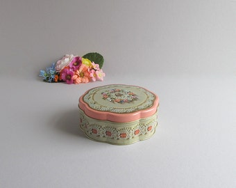 Vintage Valentine's Day Tin, Storage Tin, Supply Container, Shabby Cottage Chic Tin Container