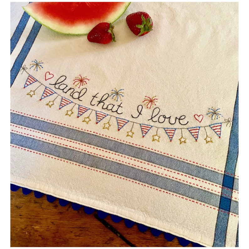 Kitchy Retro Land That I Love Dishtowel Kit and Pattern to Embroider