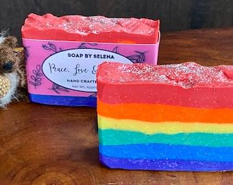 Peace, Love and Bubbles Rainbow Soap