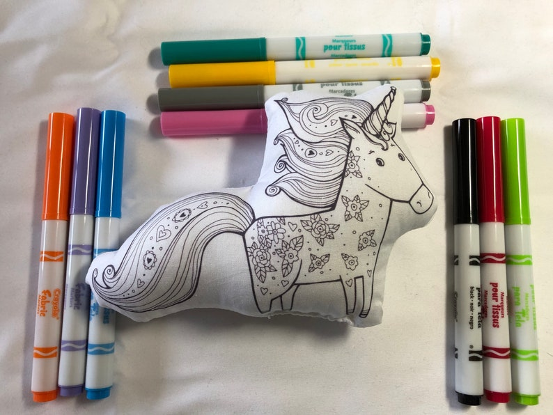 Unicorn Plush Coloring Toy Doll Craft Kit Markers Included image 0