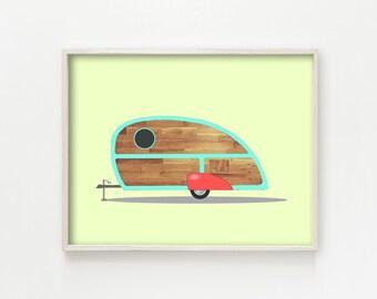 """Teardrop Camper"" - wall art print"