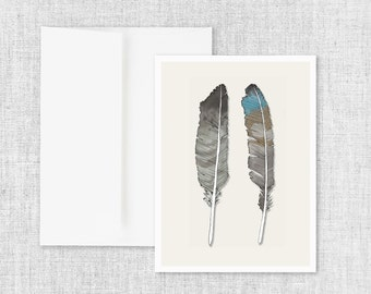 "modern greeting card, blank greeting card, greeting card set, greeting cards handmade, feathers greeting card, owl feather - ""Birds of Prey"""