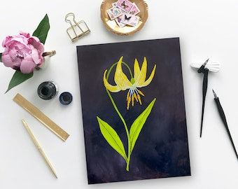 Glacier Lily Wildflower Painting