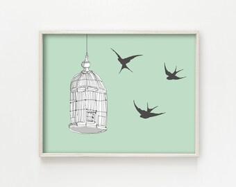 """""""Caged Bird"""" - wall art print"""