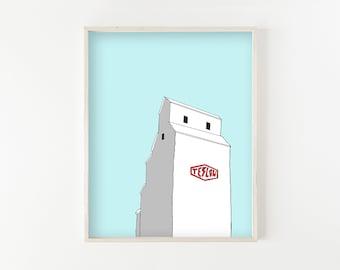 """Teslow Grain Elevator"" - wall art print"