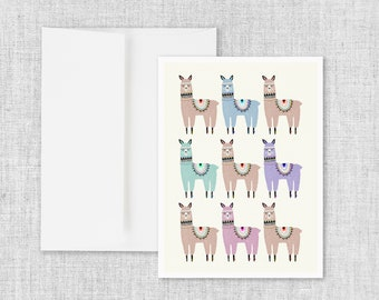 Alpaca Stack - Greeting Card