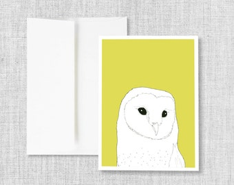 "greeting card, blank greeting card, greeting card set, owl, barn owl, yellow, owl art, drawing, blank cards, card set, bird - ""Barn Owl"""