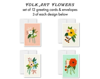 Folk Art Flowers - greeting card set