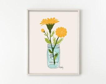 Mason Jar Marigolds