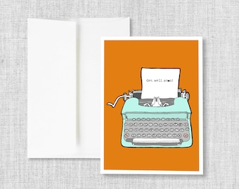 "greeting cards, greeting card set, blank greeting card, cards, vintage typewriter, retro typewriter, blank card - ""Typewriter Get Well"""