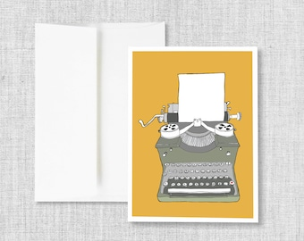 "greeting cards, greeting card set, blank greeting card, cards, vintage typewriter, retro typewriter, blank card set - ""Typewriter No. 2"""