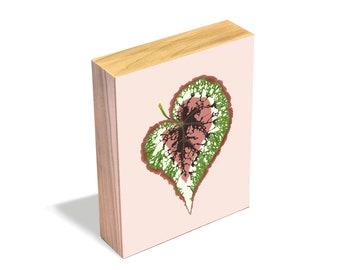 Begonia Rex - Wood Art Block