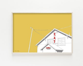 """Truck Stop Cafe"" - wall art print"