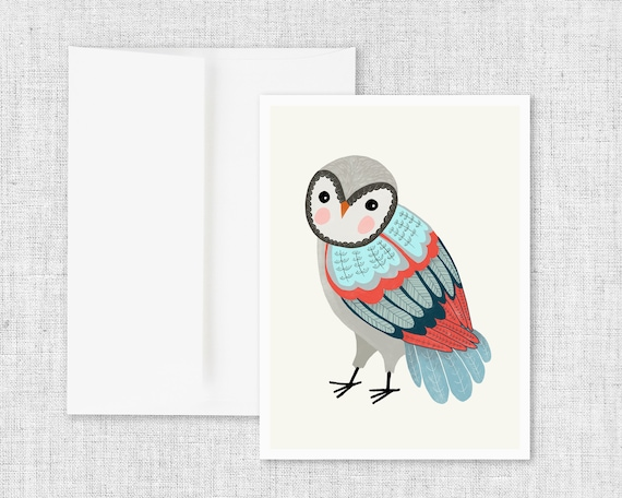 Florence Owl - Floral Greeting Card