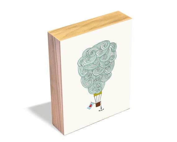 Cloud Balloon No. 3 - Wood Art Block