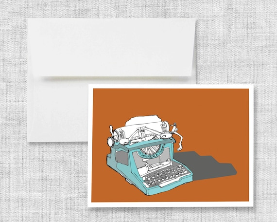 "greeting card, blank greeting card, greeting card set, greeting cards handmade, drawing, vintage typewriter - ""Sketchbook Typewriter"""