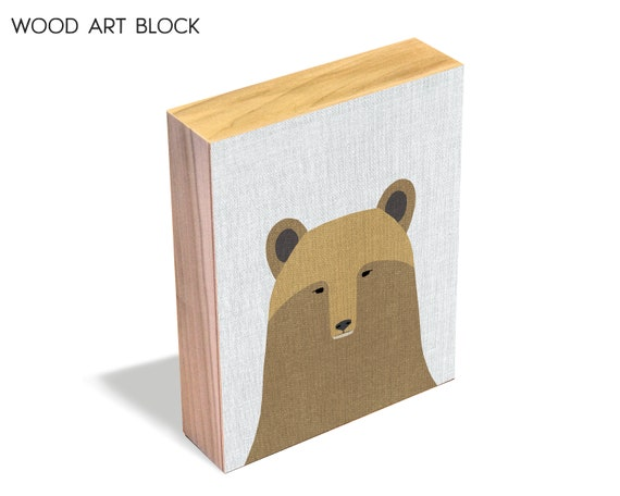 Grizzly - wood art block