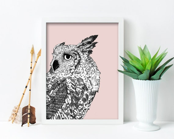 "framed wall art, framed art prints, large framed art, large framed wall art, owl, drawing, black and white, art - ""Dreaming of Full Moons"""