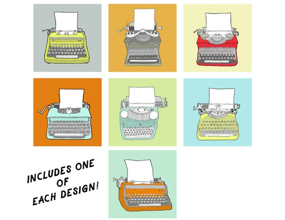 Vintage Typewriters - greeting card set, blank greeting cards