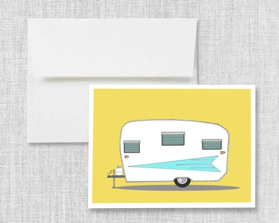 "greeting card, blank greeting card, quaking aspens, greeting card set, vintage camper art, retro camper, card - ""Vintage Roadrunner, 1962"""