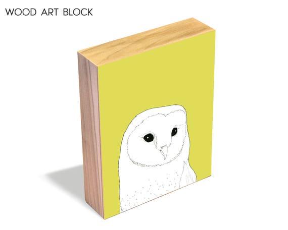 Barn Owl - wood art block