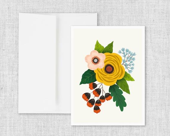 Folk Art Flowers No. 3 - Floral Greeting Card