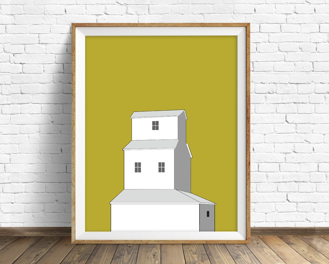 Sunset Grain Elevator - wall art, art print, grain elevator, large ...