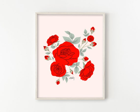 Red Roses on Pink