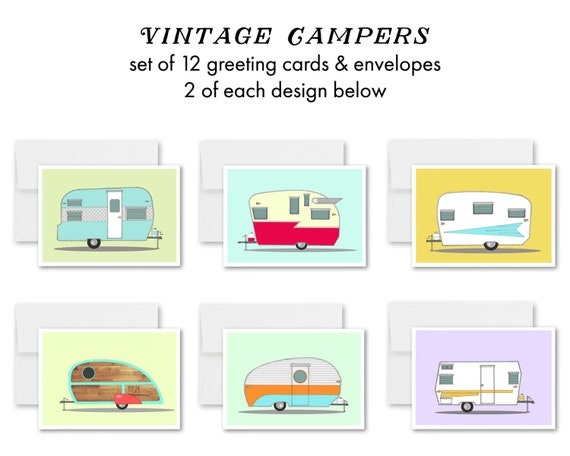 """Vintage Campers"" - greeting card set"