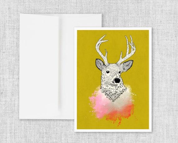Flight - Deer Illustration Greeting Card