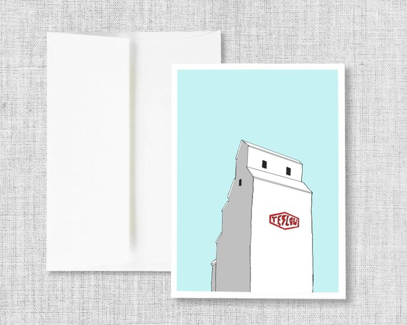 "greeting card, blank greeting card, greeting card set, greeting cards handmade, drawing, grain elevator, blue - ""Teslow Grain Elevator"""