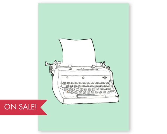 Typewriter No. 4 - large poster sized wall art, vintage typewriter wall art, colorful modern art prints, art sale, large wall art, large art