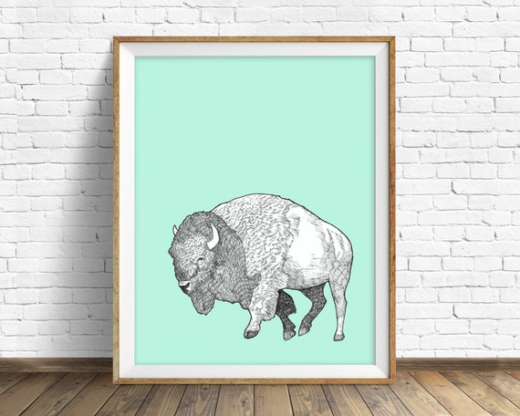 "bison, buffalo, bison print, bison art, large art, large wall art, art print, nursery decor, woodland nursery, buffalo art, aqua  - ""Bison"""
