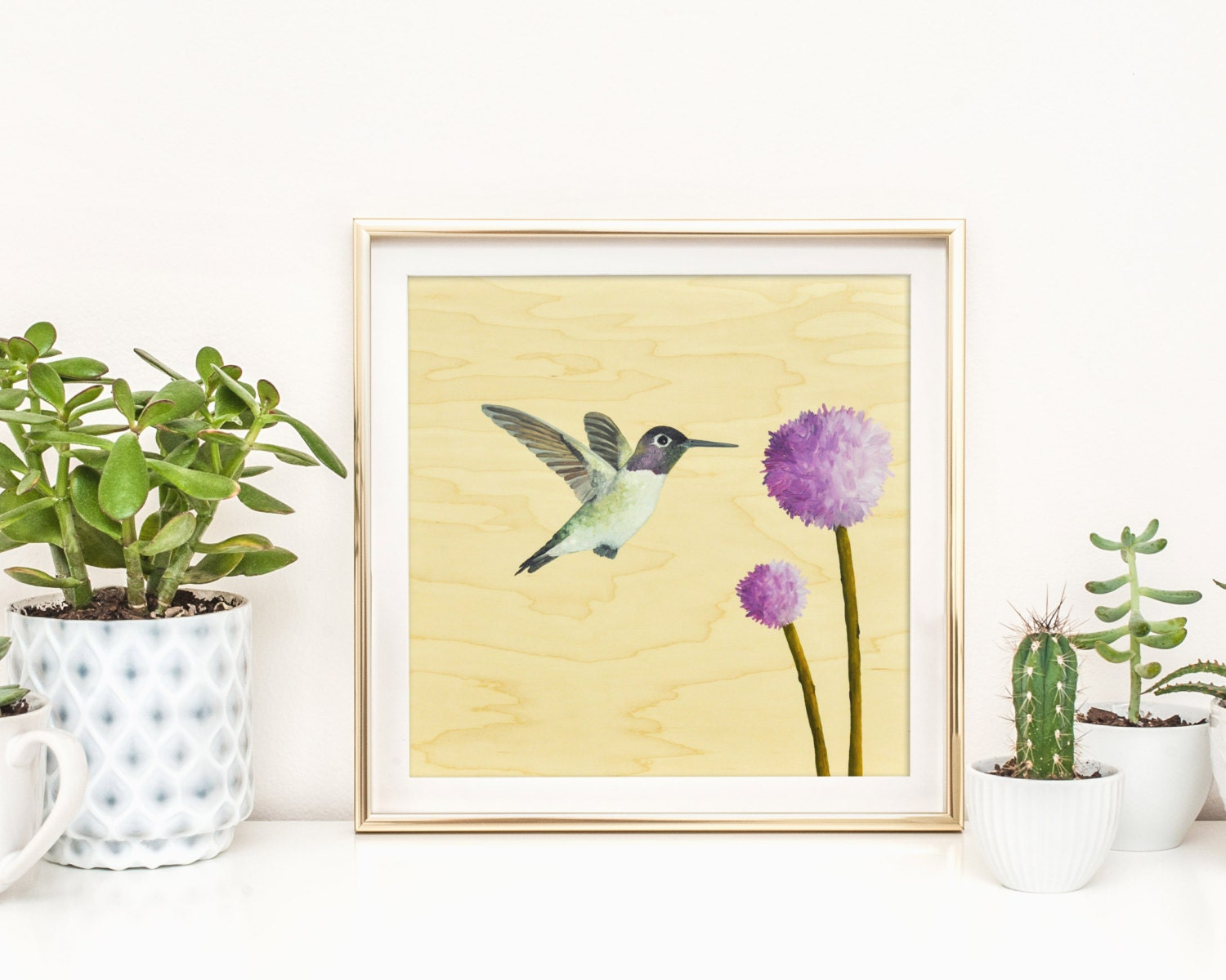 Hummingbird - art print, square art print, wood wall art, large art ...