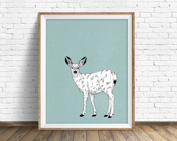 "art print, deer, woodland animals, large art, large wall art, woodland nursery, wall art, art for kids, kids room wall art, animals - ""Doe"""